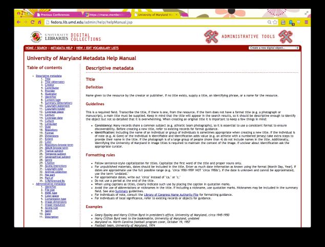 Metadata Help Manual