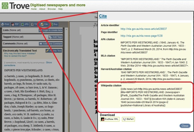 Screencap of a newspaper page from Trove, showing the site's ability to generate wiki markup to cite the newspaper page.