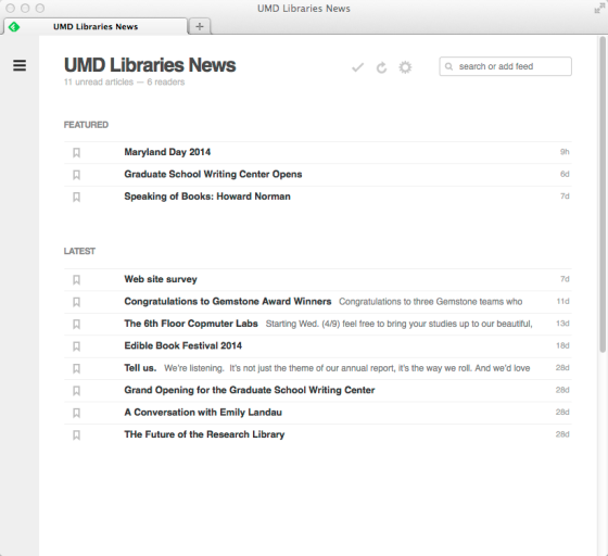 UMDLibrariesNewsFeedly